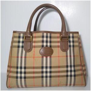 Auth Burberry Nova Check Leather Tote Bag Hand Bag